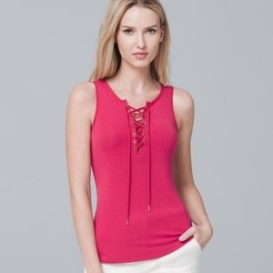 WHBM LACE-UP TANK Pink Red Size S